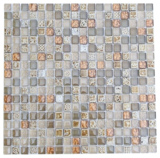 ALLOY DECO EGYPTIAN SAND SQUARES GLASS AND STONE MOSAIC TILE contemporary-tile