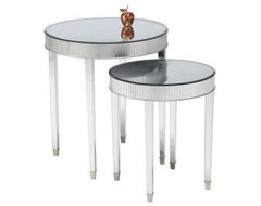 Round Mirrored Side Accent End Tables - Set of 2 traditional side tables and accent tables