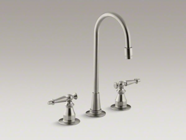 KOHLER Antique three-hole bar sink faucet with lever handles contemporary-kitchen-faucets
