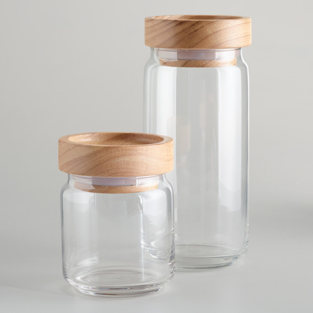 wood lidded glass jars modern kitchen canisters and
