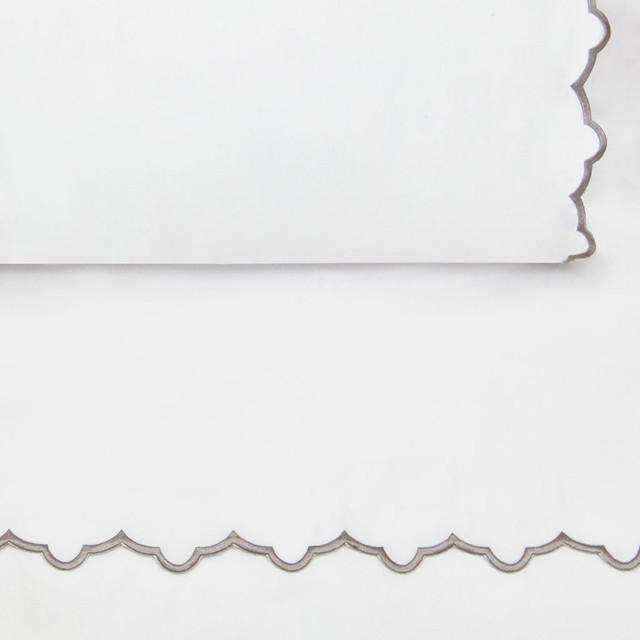 Gray Emb Pillowcase, King contemporary-bedding