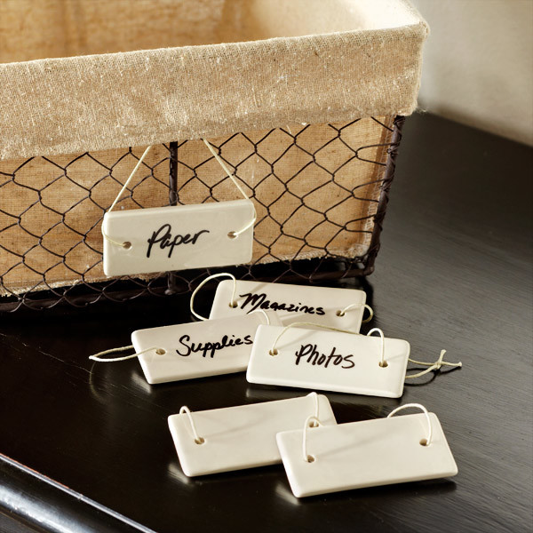 Handcarved Clay Tags modern storage and organization