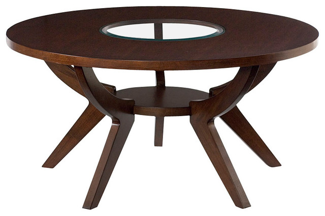 Hammary Zenith Round Cocktail Table In Mid Tone Brown Cherry Traditional Coffee Tables By