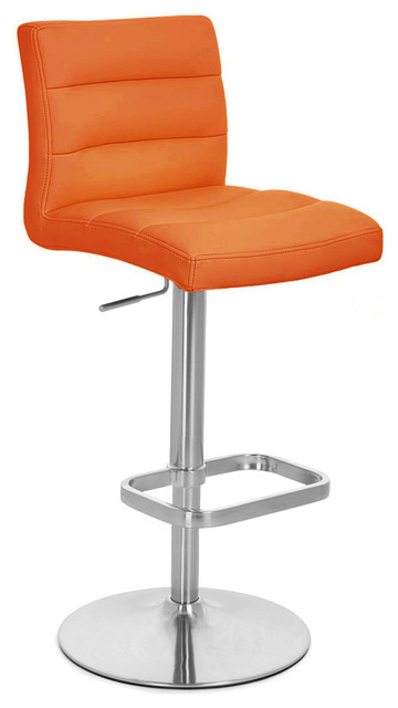 Orange Lush Adjustable Height Bar Stool Contemporary