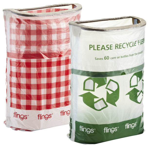 Flings Pop-Up Trash Bin, Gingham - Trash And Recycling Accessories - by The Container Store