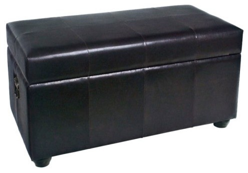 International Caravan Faux Leather Bench Trunk - traditional