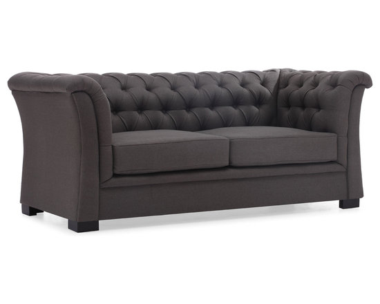 Zuo Modern - Nob Hill Charcoal Sofa - The Nob Hill sofa is a luxurious take on the classic, Chesterfield style. All that tufting! Those curved arms! There's just so much to love about this stunning beach house furniture piece. The body is solid wood and upholstered in a soft beige or charcoal linen fabric.