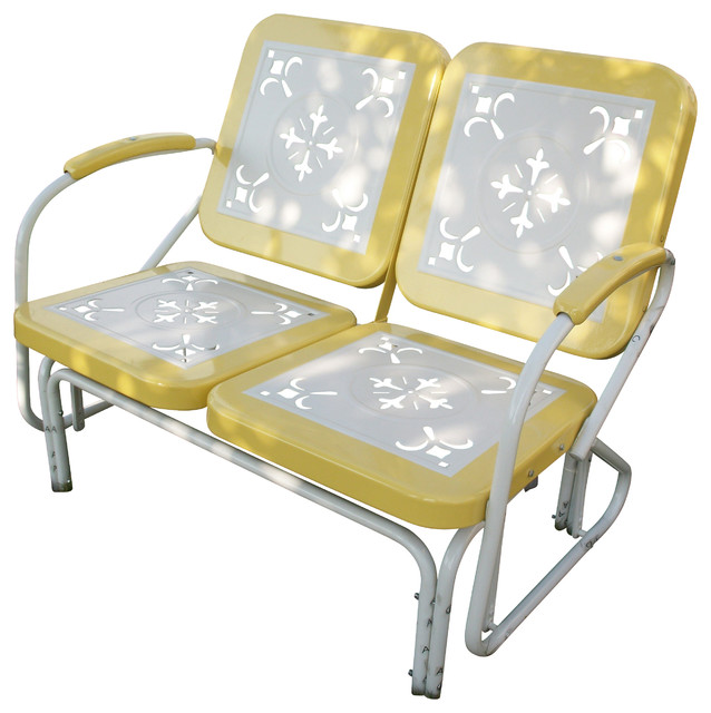 4D Concepts Metal Retro Glider in Yellow and White Metal - Eclectic ...