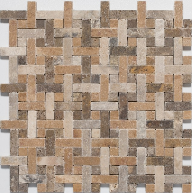 Otono Blend Basketweave Mosaic Tiles Contemporary Mosaic Tile