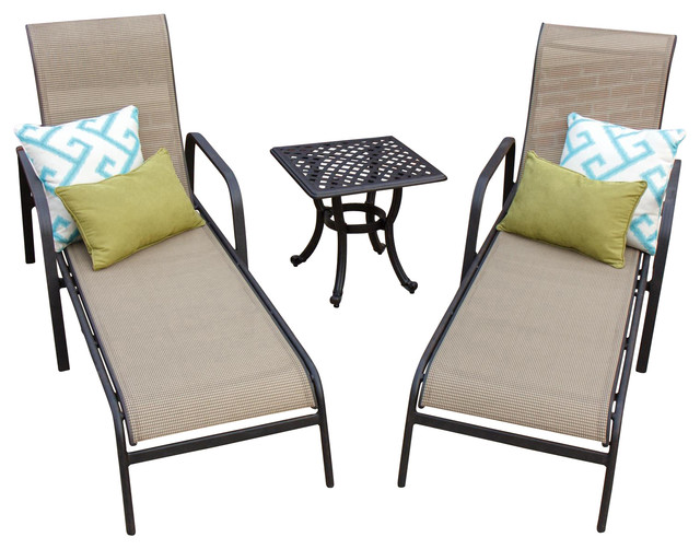 Madison bay 2 person sling patio chaise lounge set with for 2 person chaise lounge outdoor