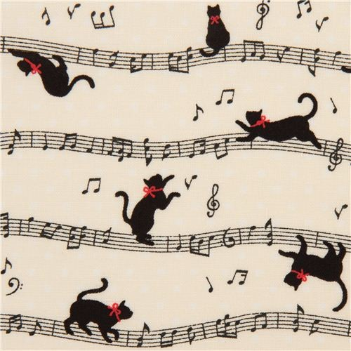 Off white Cosmo Cat Fabric With Musical Notes From Japan
