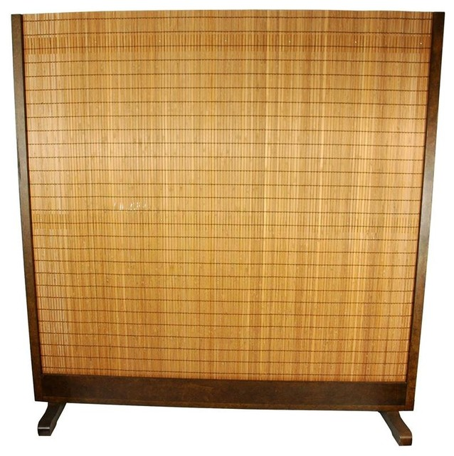One Piece Bamboo Room Divider In Tobacco Finish Asian Screens And Room Di