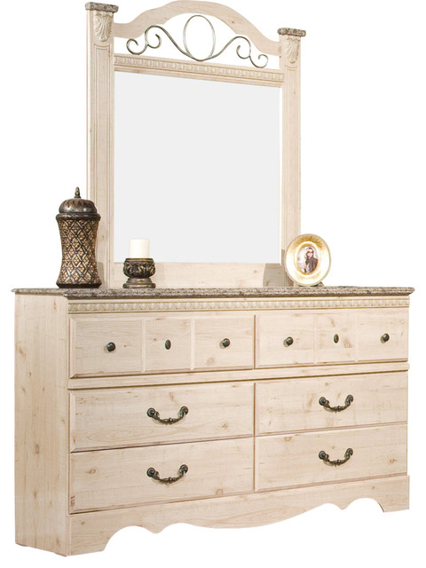 standard furniture seville dresser with mirror in old fashioned wood