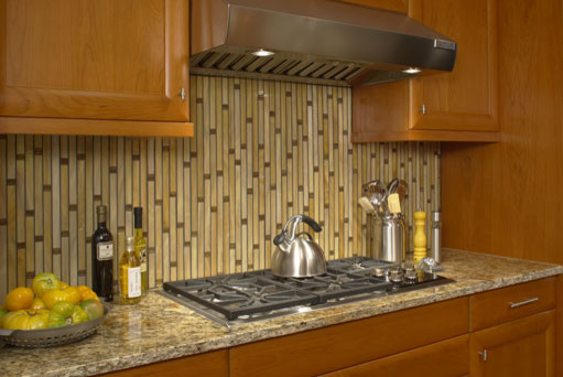 Handcrafted glass makes this back splash a work of art contemporary-kitchen