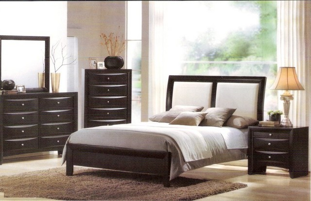 Contemporary Bedroom Set London Black By Acme Furniture: Torino Bycast Leather Black White Queen