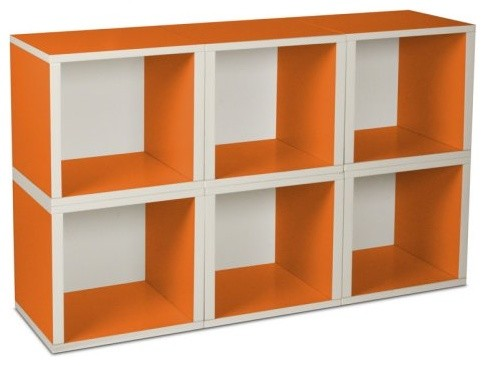 Way Basics Modular 6 Cube Bookcase Orange Contemporary Bookcases
