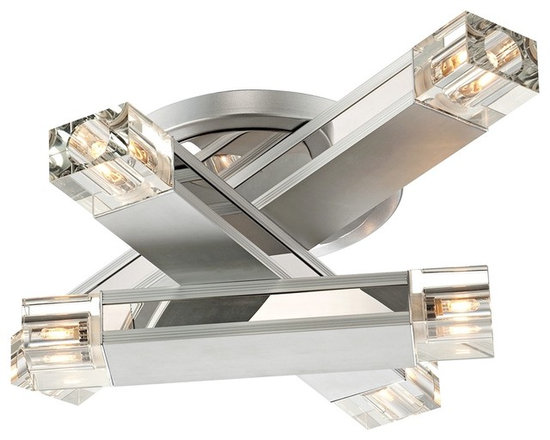 """Possini Euro Design - Possini Euro Design Three Stacked Rods Ceiling Light Fixture - This contemporary ceiling light fixture features three aluminum finish rods stacked asymmetrically on top of each other. Mounted to both ends of each rod is a crystal diffuser that reflects light off mirrored accents. From Possini Euro Design. Aluminum finish. Clear crystal. Mirrored accents. Includes six 40 watt G9 bulbs. 19 3/4"""" wide. 15 1/4"""" deep. 6"""" high.  Aluminum finish.   Clear crystal.   Mirrored accents.   Includes six 40 watt G9 bulbs.   19 3/4"""" wide.   15 1/4"""" deep.   6"""" high."""