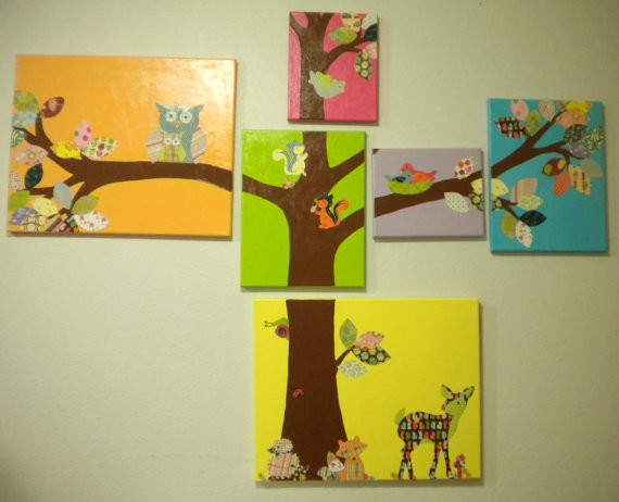 Woodland Canvas Nursery Art Hangings By Be Inspired Boutique contemporary nursery decor