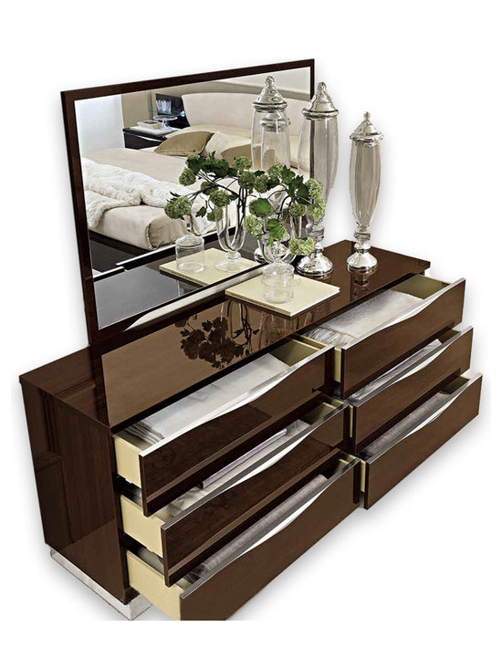 ESF Furniture - Onda Double Dresser with Mirror in Walnut - Finished in High Gloss Canaletto Walnut, the contemporary Onda dresser is accented with wave shaped chromed handle that runs along the whole upper edges of drawers. The dresser has 6 drawers.