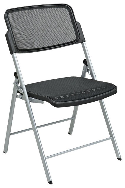 Pro-Line II Folding Deluxe Folding Chair with Black Seat and Back (Set of 2) traditional-folding-chairs-and-stools