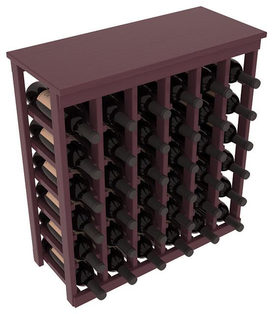 36 Bottle Kitchen Wine Rack in Ponderosa Pine, Burgundy Stain + Satin Finish contemporary-wine-racks