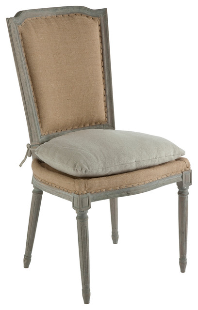 Pair Ethan French Country Rustic Hemp Dining Chair With Seat Cushion Farmho