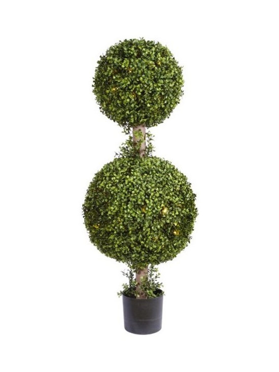 Artificial Outdoor Foliage - This artificial outdoor boxwood double ball topiary has 150 LED lights neatly hidden within the foliage. Excellent for all season use and better when lighted for the holidays.