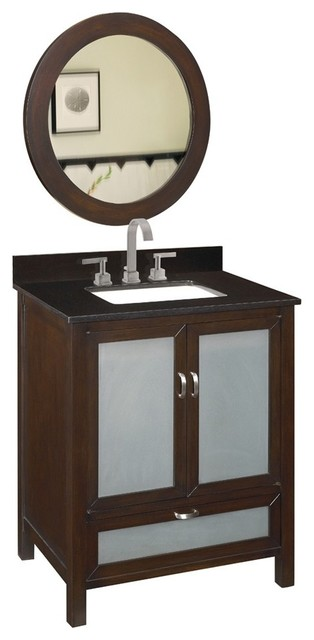 "Belle Foret BF80025R 32"" Wide Single Bowl Vanity with Black Granite Top and Back traditional-bathroom-vanities-and-sink-consoles"