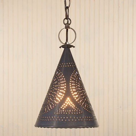 punched tin witch s hat pendant light