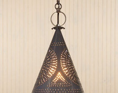 Punched Tin Witchs Hat Pendant Light traditional pendant lighting