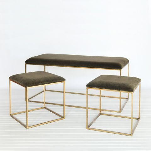 Worlds Away Set of 3-Bench and 2 Stools-Gold and Brown Velvet traditional-upholstered-benches