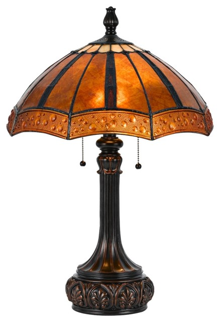 Arts and Crafts - Mission Golden Sunset Bronze and Mica Shade Tiffany Style Tabl traditional-table-lamps