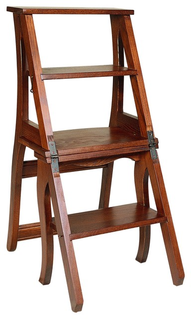 Tuscan Scaletta Step Stool and Folding Chair Traditional Ladders And Step