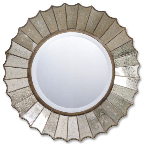 Amberlyn Gold Round Mirror contemporary-mirrors