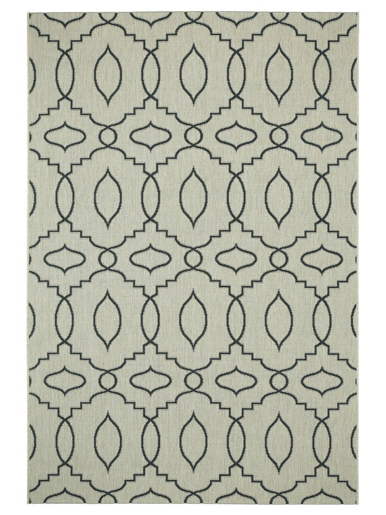 """Finesse Moor rug in Noir - """"A popular dhurrie from my indoor collection has now been made to play outside.  With light neutral bases, and clean, lighter stroke graphic patterns, Moor outdoor will pop in any natural landscape."""" - Genevieve Gorder"""