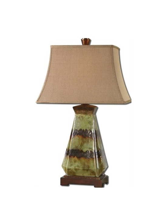 Uttermost Salvio - Heavily antiqued green ceramic with rustic dark bronze details. The rectangle bell shade is a rusty linen fabric with natural slubbing