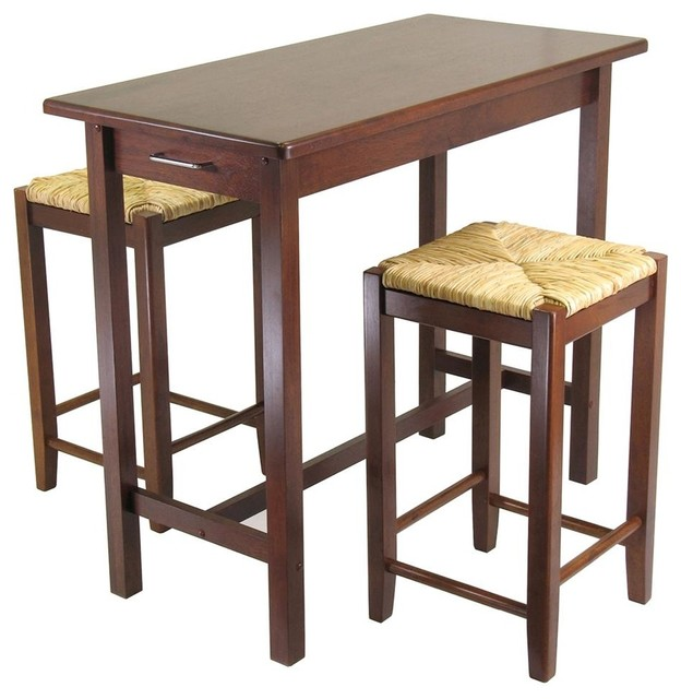 Beechwood Bar Table Set W Woven Seat Barstool Contemporary