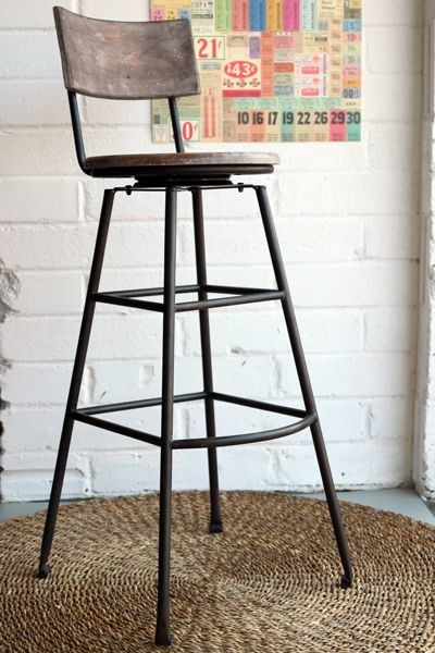 Aged Wood Extra Tall Iron Bar Stool Industrial Bar