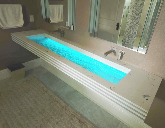 Surf Sink Floating Glass And Concrete Sink Contemporary