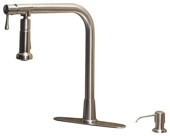 GIAGNI PIVOT SK102 Single Handle Pull Out Kitchen Faucet with Soap pump - Reach for a truly new faucet with the PIVOT Kitchen faucet from Giagni.  Enjoy all of the flexibility of a pull-out and pull-down faucets without any hoses!  The dual action sprayer does not have to be removed to spray around the sink so the sagging and jamming issues often found with pull-outs are eliminated.  Best of all the sprayer stays in place where directed to make cleaning up, filling pots or washing vegetables a hands free task.  Try the PIVOT faucet and fall in love with your kitchen all over again.