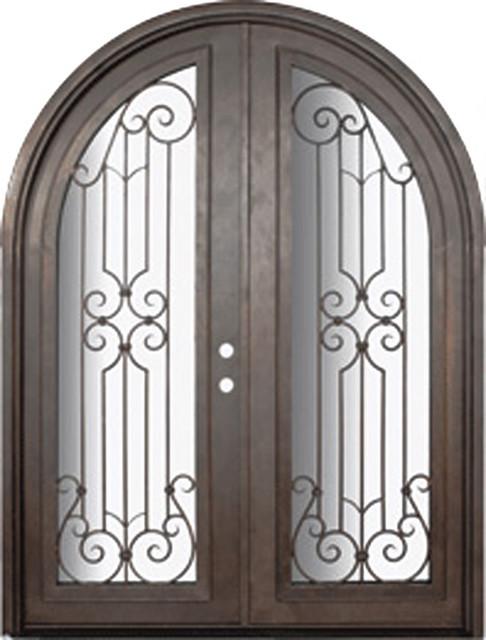 Milano 72x96 Round Top Wrought Iron Double Door 14 Gauge Steel Mediterranea