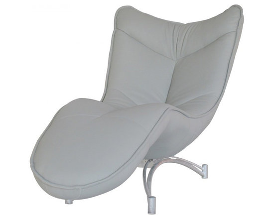 White Line Imports - Dream Gray Leatherette Chaise - Simply elegant and plush, this modern chaise from Dream collection is defined by strong silver base and soft cushions upholstered in Gray leatherette.
