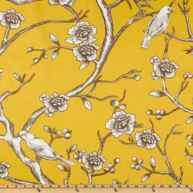 Dwell Studio Vintage Blossom Citrine Fabric contemporary-upholstery-fabric