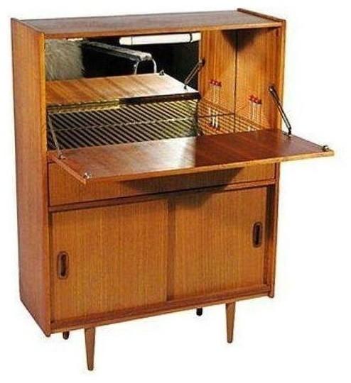 Mid-Century Modern Teak Dry Bar - Modern - Kitchen Cabinets - by Chairish