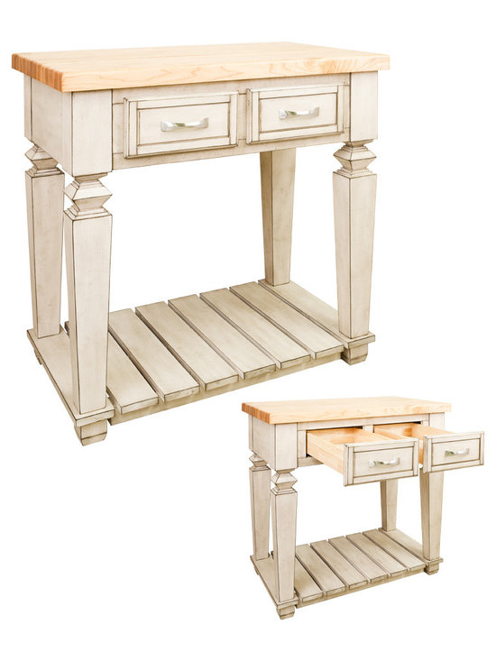 Hardware Resources - Kitchen Islands - Shown and priced with optional hard maple butcher block top (ISL10-TOP), but can be ordered without if you're looking to match your kitchen's counter material.