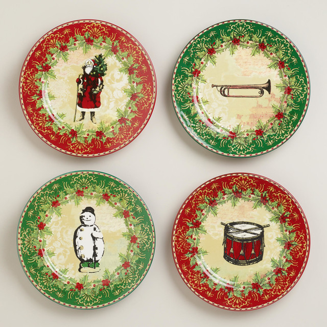 Victorian Christmas Plates, Set of 4 traditional-holiday-dinnerware