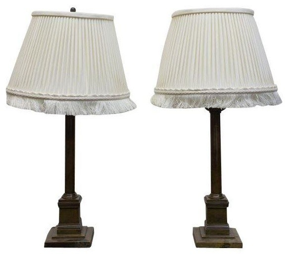 Traditional Table Lamps With Fringe Shades Pair