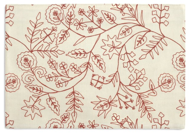 Red Stitch-Embroidered Floral Custom Placemat Set traditional-table-linens
