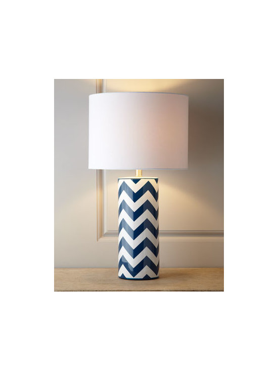 "Horchow - Chevron Lamp - The ever-popular chevron pattern is popping up everywhere. Here it decorates the cylindrical base of lamp to bring fashion and light to any room. Made of ceramic. Linen shade. Uses one 100-watt bulb. 15""Dia. x 26.5""T. Imported."