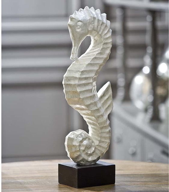 Regina andrew white capiz seahorse traditional home for Bathroom decor regina